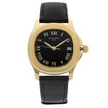 Patek Philippe Yellow gold Automatic Black 36mm pre-owned Aquanaut