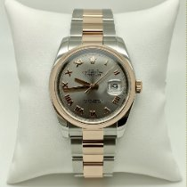 Rolex Or rose Remontage automatique Gris 36mm occasion Datejust