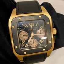 Cartier Santos 100 Złoto różowe 46.5mm Czarny
