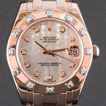 Rolex Or rose Remontage automatique Nacre Sans chiffres 34mm occasion Lady-Datejust Pearlmaster