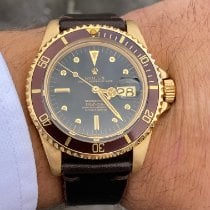 Rolex Gelbgold Automatik Schwarz Keine Ziffern 40mm gebraucht Submariner Date