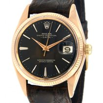 Rolex Rose gold Manual winding Black No numerals 34mm pre-owned Oyster Perpetual Date
