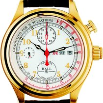 Ball Yellow gold Automatic White Arabic numerals 43mm new Trainmaster