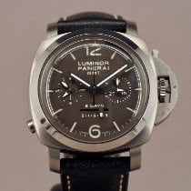 Panerai Luminor 1950 8 Days Chrono Monopulsante GMT Титан 44mm Коричневый Aрабские