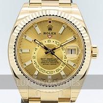 Rolex Or jaune Remontage automatique Champagne 42mm nouveau Sky-Dweller