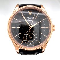 Rolex Cellini Dual Time Aur roz 39mm Negru Fara cifre