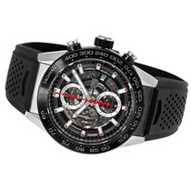 TAG Heuer Carrera Calibre HEUER 01 pre-owned 45mm Black Chronograph Date Rubber
