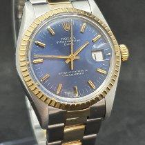 Rolex Oyster Perpetual Date Gold/Stahl 34mm Blau Keine Ziffern