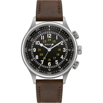 Bulova Military Steel 42mm Black Arabic numerals