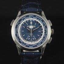 Patek Philippe World Time Chronograph Or blanc 39.5mm Bleu Sans chiffres France, Paris