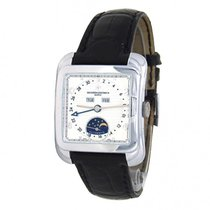 Vacheron Constantin Historiques pre-owned White Moon phase Date Weekday Month Crocodile skin