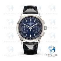 Patek Philippe Platinum Manual winding Blue No numerals 39.4mm pre-owned Chronograph