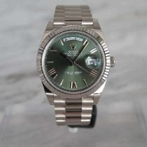Rolex Day-Date 40 Or blanc 40mm Vert Romains