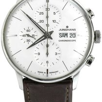 Junghans Meister Chronoscope pre-owned 40mm Silver Chronograph Date Weekday Leather