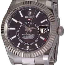 Rolex Steel Automatic Black No numerals 42mm pre-owned Sky-Dweller