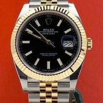 Rolex Yellow gold Automatic Black No numerals 41mm new Datejust II