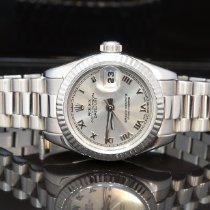 Rolex White gold Automatic Silver 26mm pre-owned Lady-Datejust