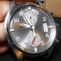 IWC Pilot Spitfire Chronograph pre-owned 43mm Silver Chronograph Date Crocodile skin