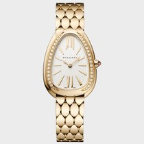 Bulgari Yellow gold Quartz Silver 33mm new Serpenti