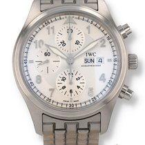 IWC Pilot Spitfire Chronograph pre-owned 42mm Silver Chronograph Date Steel