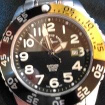Zeno-Watch Basel Acero Cuarzo Negro Arábigos 45mm usados Airplane Diver
