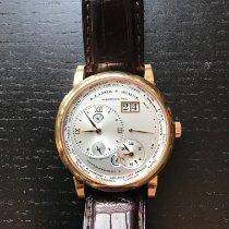 A. Lange & Söhne Lange 1 occasion Argent (massif) Date GMT Boucle ardillon