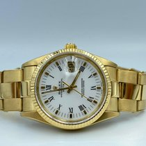 Rolex Or jaune Remontage automatique Blanc Romain 34mm occasion Oyster Perpetual Date