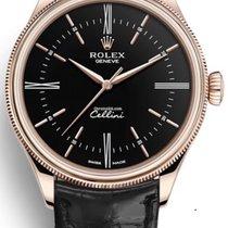 Rolex Cellini Time Ruzicasto zlato 39mm Crn Bez brojeva