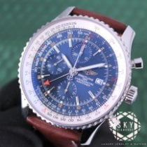 Breitling Navitimer World pre-owned 46mm Blue Chronograph Date GMT Calf skin