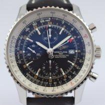 Breitling Navitimer World gebraucht 46mm Schwarz Chronograph Datum GMT/Zweite Zeitzone Leder