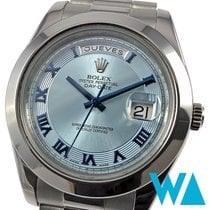 Rolex Day-Date II Platinum 41mm Blue Roman numerals