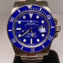 Rolex Or blanc Remontage automatique Bleu Sans chiffres 40mm nouveau Submariner Date