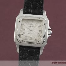 Cartier Santos Galbée używany 29mm Srebrny Data Skóra krokodyla