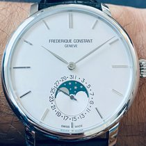Frederique Constant Manufacture Slimline Moonphase pre-owned 42mm White Moon phase Date Leather