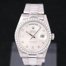 Rolex Day-Date 36 Aur alb 36mm Argint Fara cifre