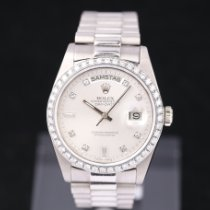 Rolex Day-Date 36 Or blanc 36mm Argent Sans chiffres