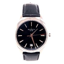 Zenith Captain Central Second pre-owned 40mm Black Date Crocodile skin