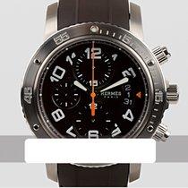 Hermès Clipper używany 43mm Czarny Data Kauczuk