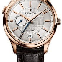 Zenith Elite Dual Time Oro rosa 40mm Plata
