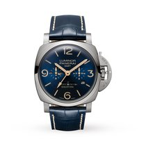 Panerai Luminor 1950 8 Days GMT Titanio 47mm Azul Arábigos