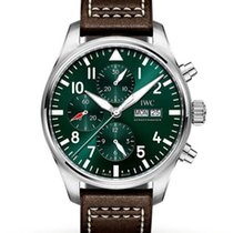 IWC Pilot Chronograph Steel 43mm Green Arabic numerals United States of America, Iowa, Des Moines