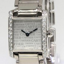 Cartier White gold Quartz Silver Roman numerals 20mm pre-owned Tank Française