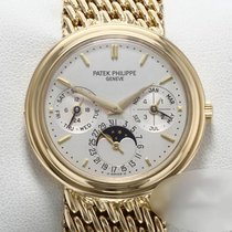 Patek Philippe Perpetual Calendar pre-owned 36mm Silver Moon phase Date Weekday Month Perpetual calendar Yellow gold