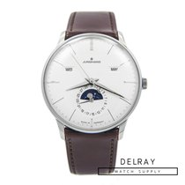 Junghans Meister Calendar pre-owned 40mm White Moon phase Date Calf skin