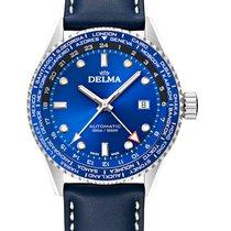 Delma Steel 42mm Automatic Cayman Worldtimer 41601.710.6.041 new