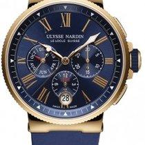 Ulysse Nardin Rose gold Automatic Blue Roman numerals 43mm new Marine Chronograph
