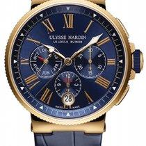 Ulysse Nardin Marine Chronograph Pозовое золото 43mm Синий Римские