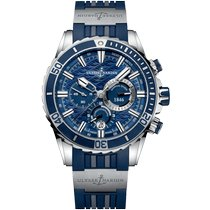 Ulysse Nardin Steel Automatic Blue No numerals 44mm new Diver Chronograph