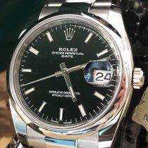 Rolex Oyster Perpetual Date Acier 34mm Noir Sans chiffres