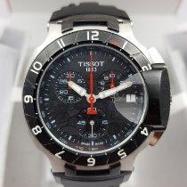 Tissot T-Race rabljen 45mm Crn Kronograf Datum, nadnevak GMT Tahimetar Kaučuk